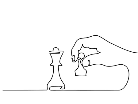 Continuous line drawing. Hand holding chess vector illustration.