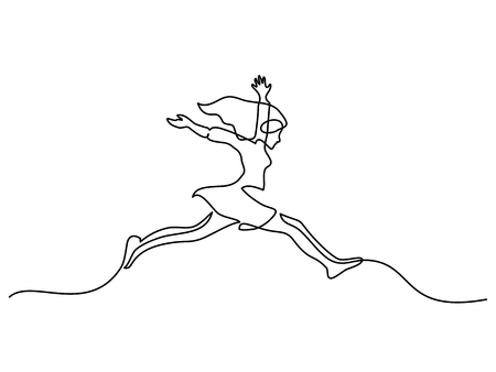 Continuous line drawing. Happy toddler girl jumping. Vector illustration Çizim