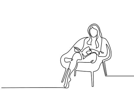 Dibujo lineal continuo. Mujer sentada con el libro en la silla. Ilustración vectorial