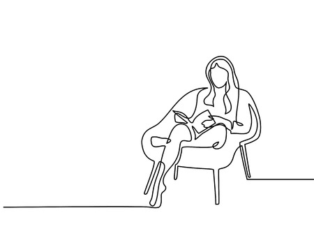 Continuous line drawing. Woman sitting with book in chair. Vector illustration