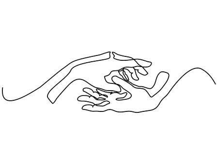 Kontinuierliche Linienzeichnung . Mann und Frau Hände zusammen . Vektor-Illustration