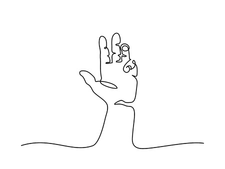 Continuous line drawing. Hand palm with fingers. Vector illustration Ilustração