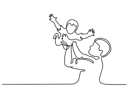 Continuous line drawing. Father holding happy son up in air vector illustration. Vettoriali