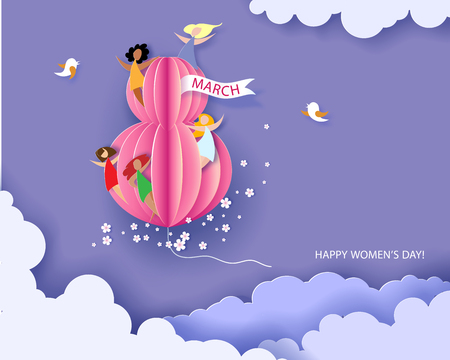 Card for 8 March womens day. Abstract background with text, flowers and women different nationalities. Vector illustration. Paper cut and craft style. Фото со стока - 95318296