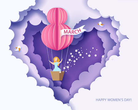 Card for 8 March womens day. Woman in basket of hot air balloon. Abstract background with text and flowers .Vector illustration. Paper cut and craft style. Imagens - 95318300