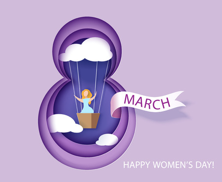 Card for 8 March womens day. Woman in basket of air ballon shaped as cloud. Abstract background with text and flowers .Vector illustration. Paper cut and craft style.