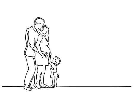 Continuous line drawing. Happy pregnant woman with her husband and small son, silhouette picture. Vector illustration