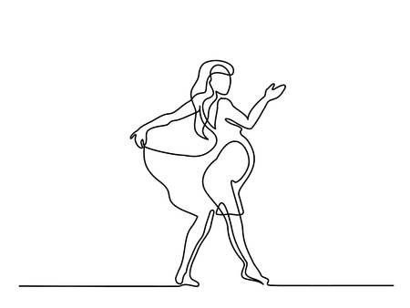 Continuous line drawing. Happy pregnant woman dancing silhouette picture. Vector illustration Illustration