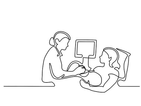 Kontinuierliches Strichzeichnen. Schwangere Frau, die an einem Doktor für Ultraschalluntersuchung, Schattenbildbild teilnimmt. Vektor-illustration