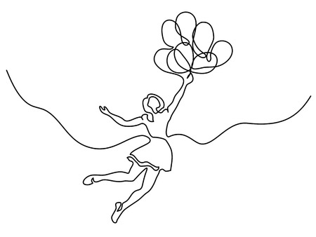 Continuous line drawing. Girl flying in air with balloons. Vector illustration 免版税图像 - 96219486