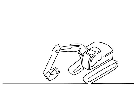 Continuous line drawing. Excavator sign, simple vector illustration Vettoriali