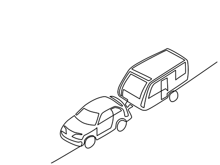 Continuous line isometric drawing. Caravan with automobile for vacation traveling. Vector illustration.