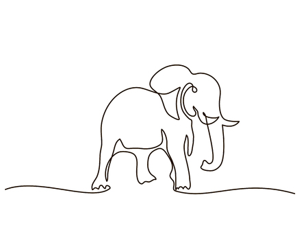 Continuous line drawing, elephant walking symbol. Icon of the elephant vector illustration. Illustration