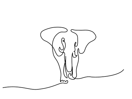 Continuous line drawing. Elephant walking symbol.