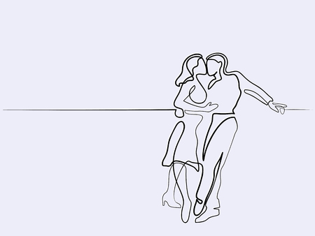 Continuous different wide line drawing. Happy couple kissing. Illustration