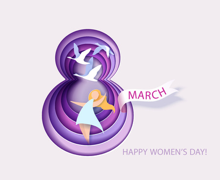 Card for 8 March womens day. Number eight with flowers cut from paper and Woman with swan.