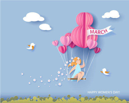Card for 8 March womens day. Abstract background with text and woman flying with air balloons .Vector illustration. Paper cut and craft style. Illustration