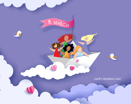 Card for 8 March womens day. Happy women different nationalities flying on paper boat. Vector illustration. Paper cut and craft style.