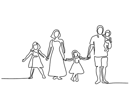 Continuous line drawing. Happy family with three children.
