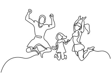 Continuous line drawing, happy family jumping vector illustration.