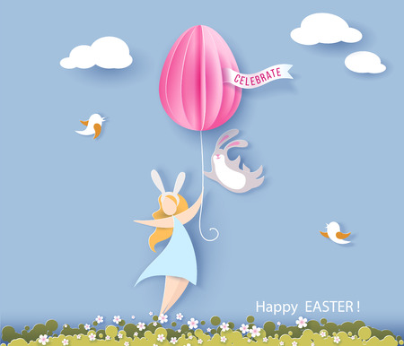 Happy Easter card with bunny, girl, flowers and egg air balloon on blue sky background. Vector illustration. Paper cut and craft style.
