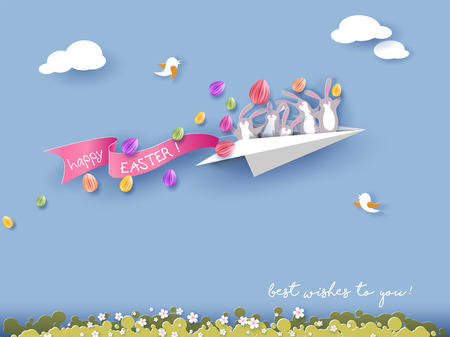 Happy Easter card with bunny flying on paper airplane on blue sky background. Vector illustration. Paper cut and craft style.
