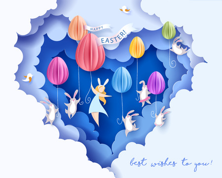 Happy Easter card with bunny, girl and egg air balloon on blue sky background. Vector illustration. Paper cut and craft style.