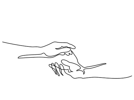 Continuous line drawing. Holding man and woman hands together. Vector illustration Vettoriali