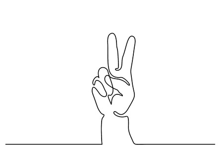 Continuous line drawing. Hand showing victory sign. Vector illustration Stock Illustratie