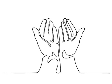 Continuous line drawing. Hands palms together praying. Vector illustration Иллюстрация