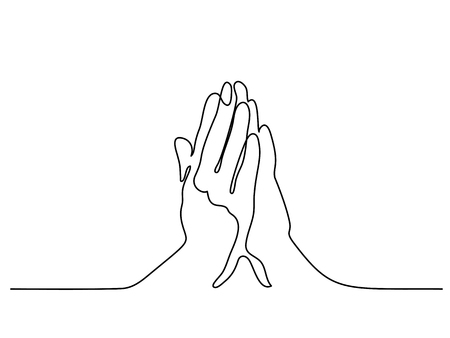 Continuous line drawing. Hands palms together praying. Vector illustration Stock Illustratie