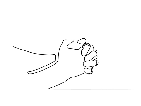 Continuous line drawing. Hands palms together praying. Vector illustration Vettoriali