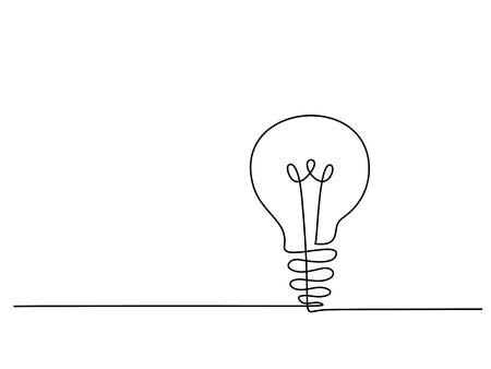 Continuous line drawing. Electic light bulb. Eco idea metaphor. Vector illustration Illustration