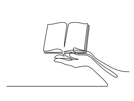 Continuous line drawing. Hands palms together with opened book. Vector illustration Çizim