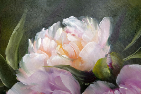 Romantic Pink Peonies, oil painting on canvas Standard-Bild - 99096444