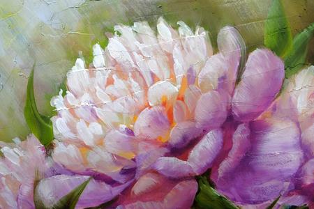 Romantic Pink Peonies, oil painting on canvas Standard-Bild - 99136062