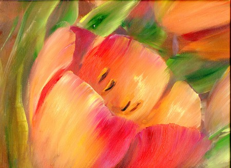 Vintage red tulips . Oil painting on canvas Foto de archivo