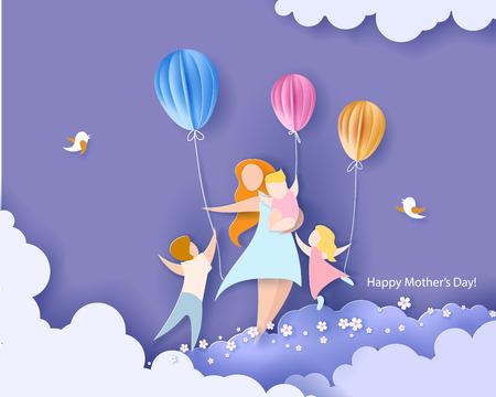Hermosas mujeres con sus hijos. Tarjeta del día de las madres felices Estilo de corte de papel. Ilustración vectorial