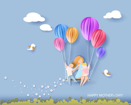 Belle femme avec ses enfants. Carte de fête des mères heureux. Style de coupe de papier. Illustration vectorielle