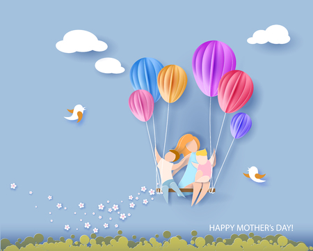 Beautiful woman with her children. Happy mothers day card. Paper cut style. Vector illustration