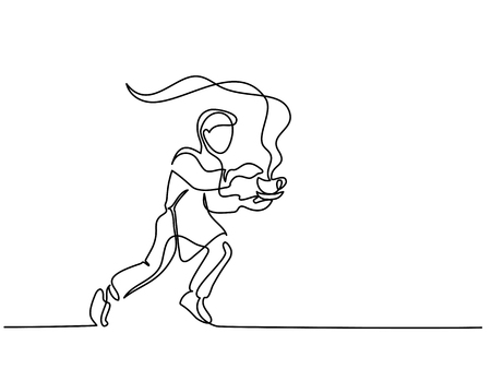 Boy garson running with cup of tea coffee. Continuous line drawing. Vector illustration on white background. Çizim