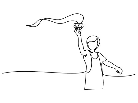 Boy garson with cup of tea coffee. Continuous line drawing. Vector illustration on white background.