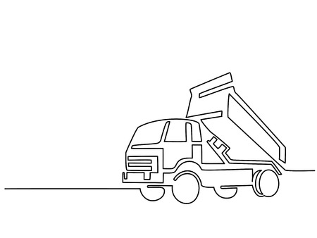 Continuous line drawing. Construction truck tipper. Vector illustration. Stock Illustratie