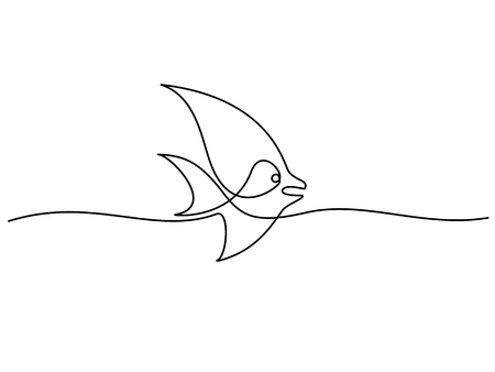 Continuous one line drawing. Exotic fish logo. Black and white vector illustration. Concept for logo, card, banner, poster, flyer