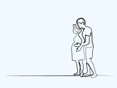 Continuous line drawing. Happy pregnant woman with her husband, silhouette picture. Vector illustration