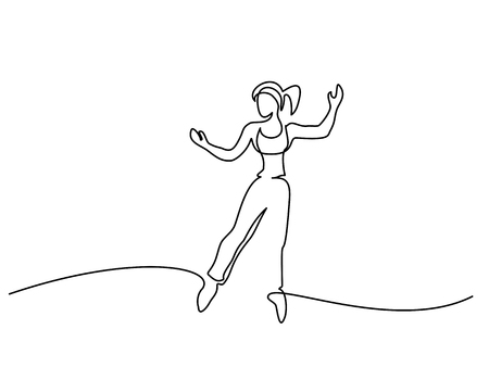 Continuous line drawing. Happy jumping woman on white background. Vector illustration.