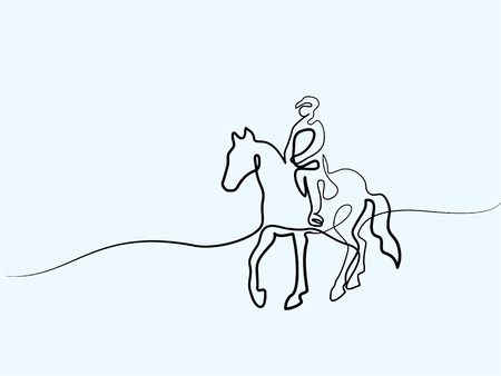 Continuous one line drawing. Horse and rider on horseback. Black and white vector illustration. Concept for card, banner, poster