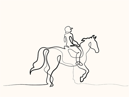 Continuous one line drawing Horse and rider on horseback