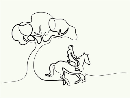 Continuous one line drawing. Horse and rider on horseback under tree. Black and white vector illustration. Concept for logo, card, banner, poster, flyer