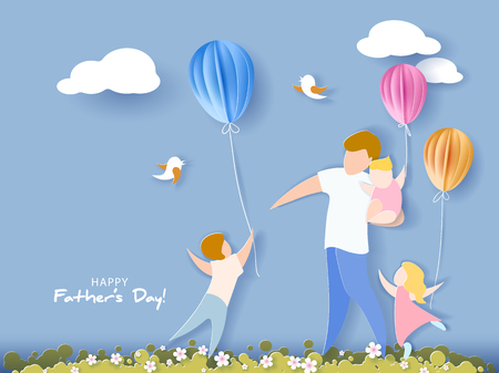 Handsome man with his children and color balloons. Happy fathers day card. Paper cut style. Vector illustration